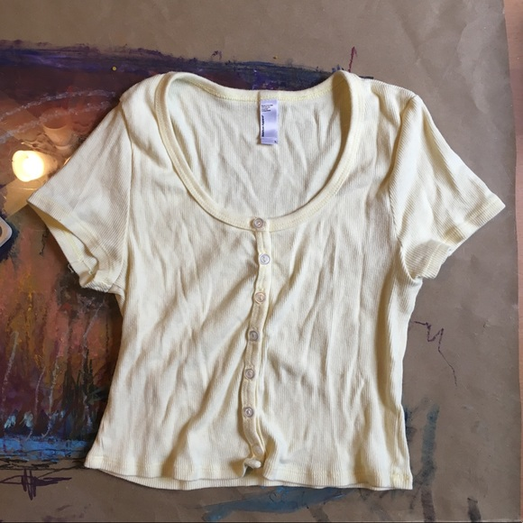 fc50ae63b49 American Apparel Tops - AA Yellow Ribbed Short sleeve Button Up Crop Top L